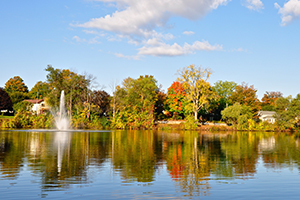 scenic lake lisgar in the fall with fountain