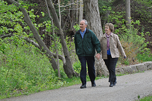 couple walking on Carroll Trail