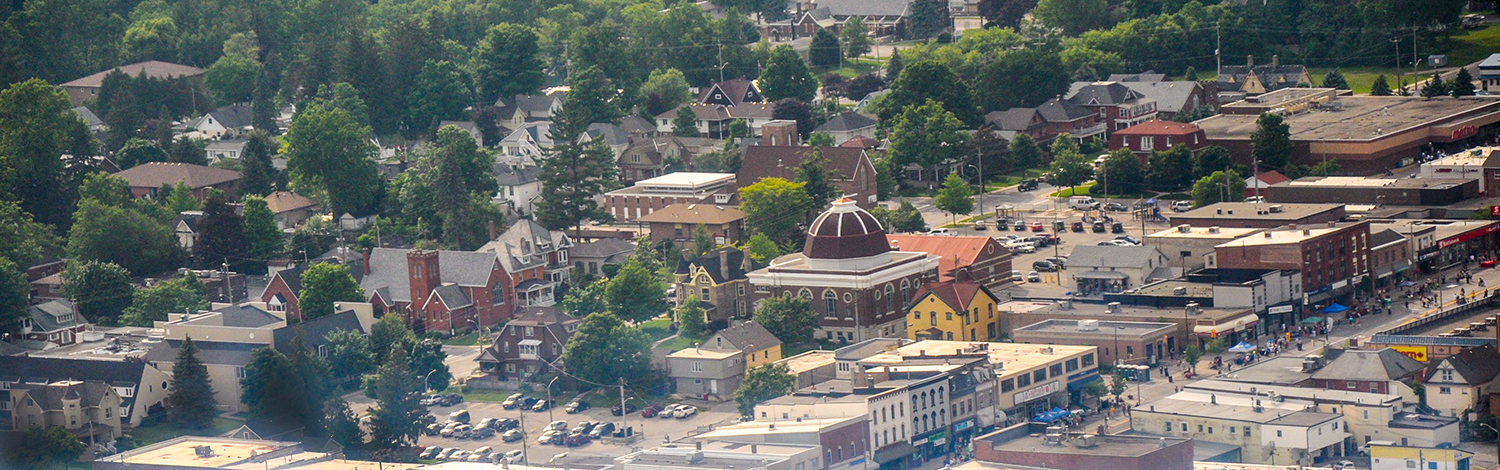 aerial view of downtown Tilllsonburg and west