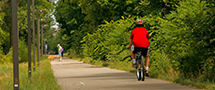 cyclist on trail in Tillsonburg